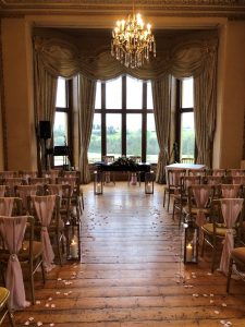 Ceremony room for a winter wedding at Orchardleigh House Dec 2019